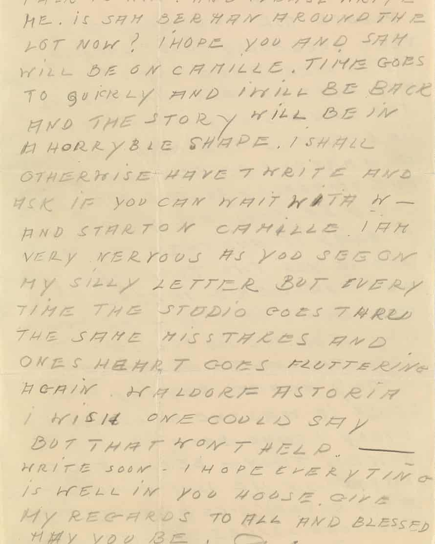 One of the Garbo letters on sale at Swann Auction Galleries.