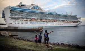 The Ruby Princess cruise ship departing Port Kembla on 23 April.