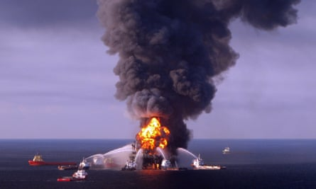 Response crews battle fire on BP-operated oil rig Deepwater Horizon in the Gulf of Mexico on 21 April 2010.