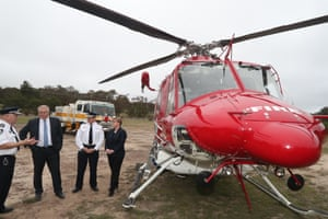 Prime minister Scott Morrison during a visit to the Rural Fire Service Wamboin brigade in NSW this morning.