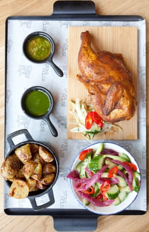 Smoked beer can chicken, cucumber and poppy seed salad, potatoes with garlic, salsa verde and wild garlic pesto,