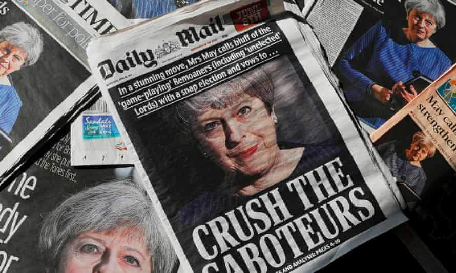 An arrangement of newspapers on the day the 2017 general election was called.