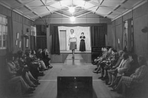 Ladies' Fashion Show in the old village hall at Beaford, 1976