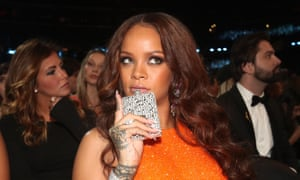 Rihanna and her hip flask during the Grammys.