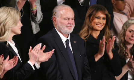 Rush Limbaugh with Melania Trump at the president's state of the union address, where Limbaugh was awarded the presidential medal of freedom.