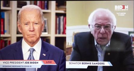 Senator Bernie Sanders endorsed Joe Biden via a livestream briefing on 13 April 2020.