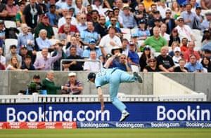 Stokes takes an amazing catch to dismiss Phehlukwayo .