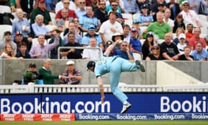 Ben Stokes flies through the air after taking a spectacular catch on England's boundary.