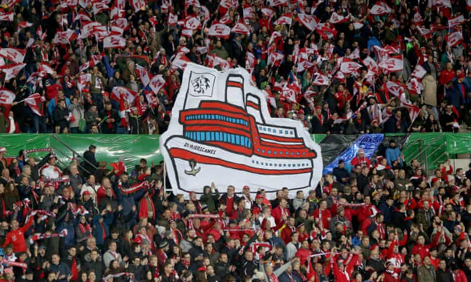 Austria fans with a choreograph during the Euro 2020 qualifier North Macedonia at the Ernst Happel Stadion in November 2019.