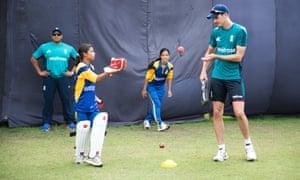Net profit: fielding practice with fast bowler Steven Finn.