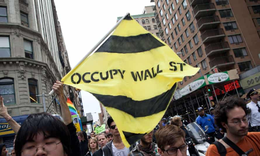 Occupy Wall Street protesters march in New York City, 2012.