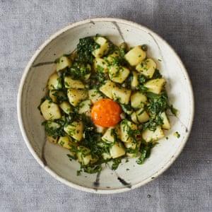 Robin Gill's wild garlic potato 'risotto' with cured egg yolk