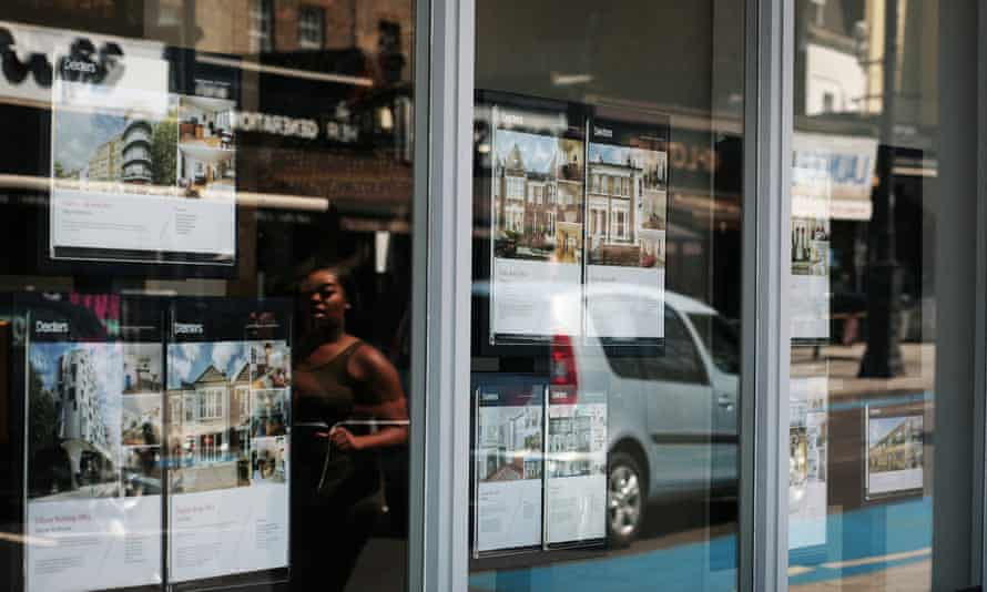 An estate agent's window in Clapham, south London