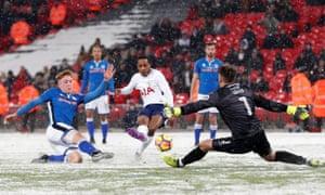 Tottenham's Kyle Walker-Peters scores their sixth goal.