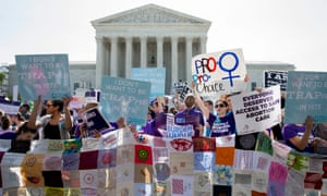 Pro-choice supporters rally outside the supreme court in Washington DC on 27 June 2016.