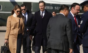 Hope Hicks, (L), an advisor to US President Donald Trump, President Trump's senior adviser, Jared Kushner, and White House Social Media Director Dan Scavino walk to Air Force One to depart Washington with the president and other staff on campaign travel to Minnesota from Joint Base Andrews, Maryland, US, 30 September 2020.