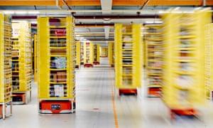 Robots at an Amazon warehouse.