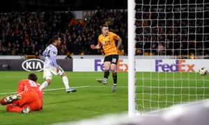 Wolverhampton Wanderers' Diogo Jota scores his side's fourth goal of the game.