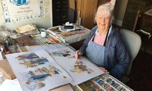 Shirley Hughes at her studio in London working on Dogger's Christmas in October.