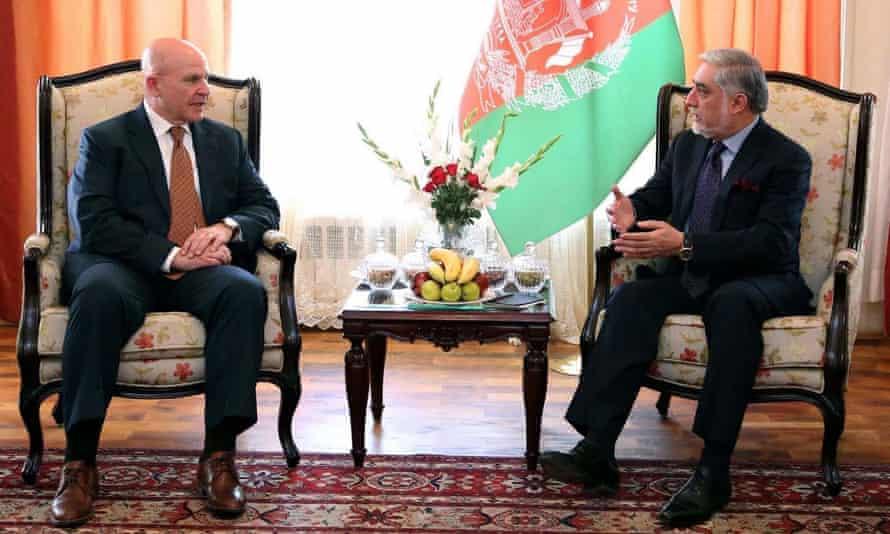 McMaster meets Abdullah Abdullah, Afghan chief executive, in Kabul in April 2017.