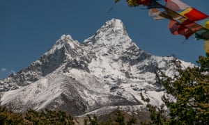 Classic view of Himalayan mountain Ama Dablam (6,812m), showing the popular southwest ridge climbing route to the right of the photo.