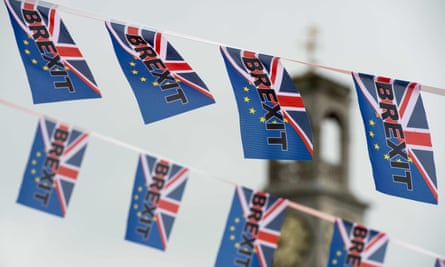 Flags with union jack and EU symbol on them