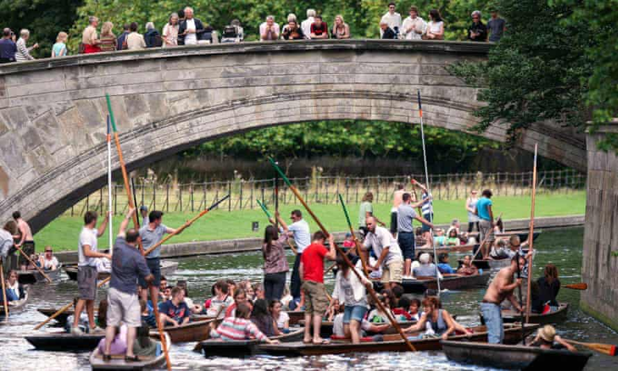 Congested Cambridge: punters in a pile-up underneath a bridge