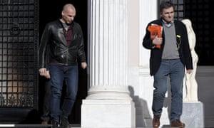 Greece's outspoken finance minister Yanis Varoufakis, left, with Tsakalotos.