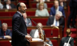 France's prime minister, Édouard Philippe, delivers his annual address at the National Assembly in Paris.