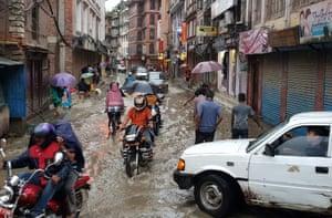A waterlogged street in Patan, south of Kathmandu.