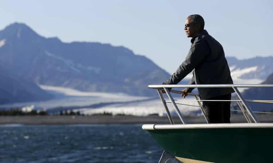 Obama views Bear Glacier on a boat tour of Kenai Fjords National Park in Seward, Alaska