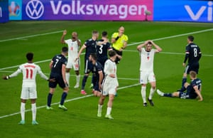 Declan Rice of England reacts after the scramble.