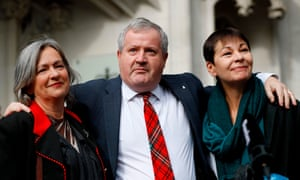Liz Saville Roberts (left) outside the supreme court today with the SNP's Ian Blackford and the Green party's Caroline Lucas