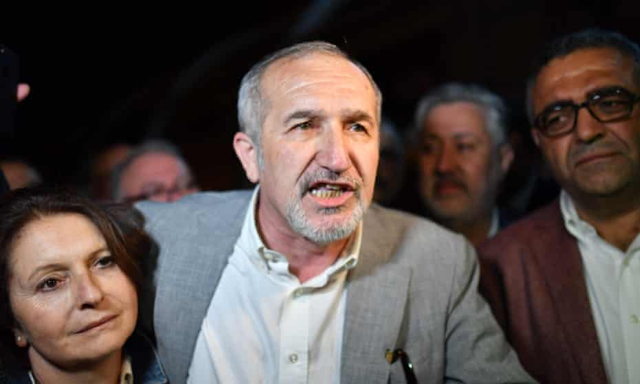 Cumhuriyet chairman Akin Atalay after being released from prison on Wednesday.