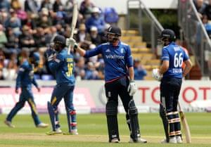 James Vince celebrates his maiden ODI half-century.