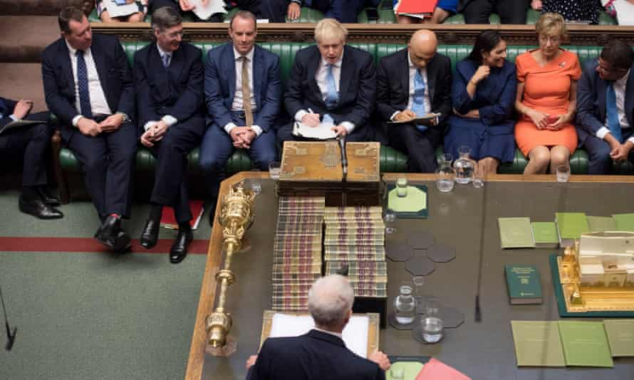 Jeremy Corbyn and Boris Johnson face each other across the Commons