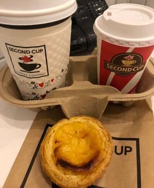 Second Cup Coffee Company in Birmingham: restorative caffeine and pastel de nata on New Street.