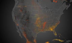 Satellite imagery showing the location, size, and intensity of wildfires across North America during 2013.