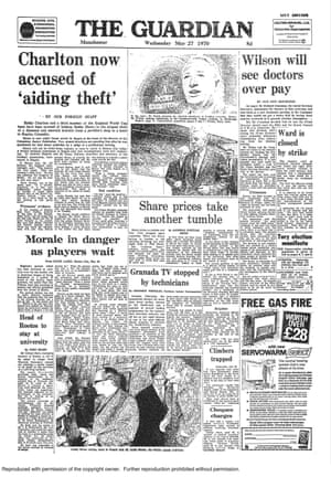 Front page of the 27 May 1970 edition of the Guardian.