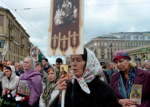 St. Petersburg, Russia. A religious procession in Nevsky Prospekt