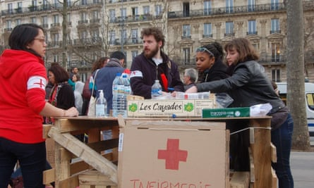 A makeshift medical clinic at Nuit debout in Paris.