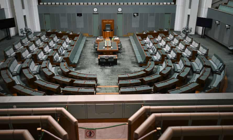 General view of the empty House of Representatives at Parliament House in Canberra