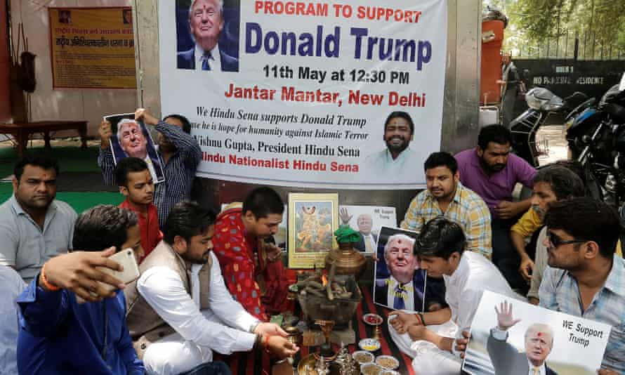 Activists of Hindu Sena perform a special prayer to ensure a victory of Trump in the upcoming elections, in New Delhi on Wednesday.