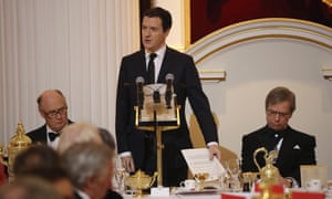 Chancellor George Osborne at tonight's Mansion House dinner in the City of London.