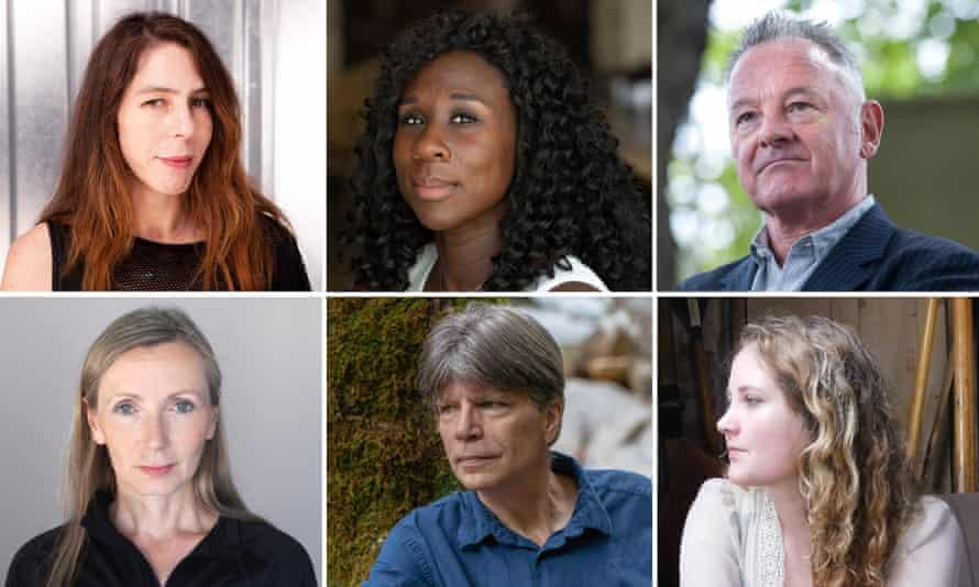 Booker shortlist 2018 authors composite: Clockwise from top left: Rachel Kushner.Esi Edugyan, Robin Robertson,Daisy Johnson, Richard S Powers and Anna Burns