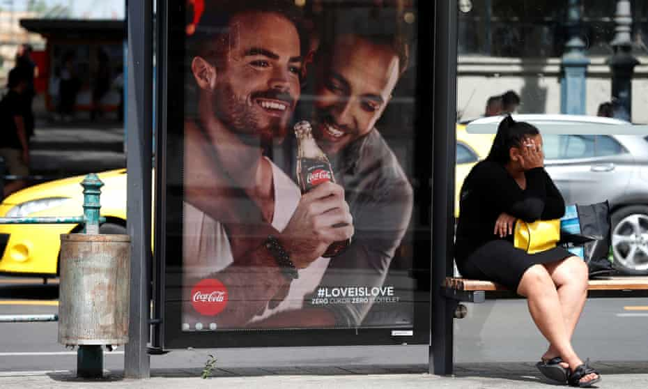 A billboard part of the Coca-Cola campaign supporting gay rights.