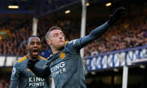 Leicester City's Jamie Vardy celebrates scoring the opening goal at Goodison.