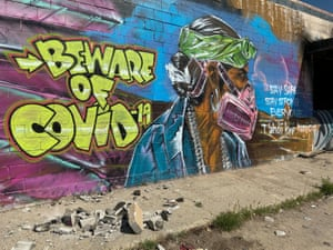 A mural in Shiprock, New Mexico, warns residents of the danger of coronavirus on the Navajo reservation.