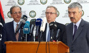 (L to R) José Antonio Bordallo of Spain, Antoine Sivan of France, and Peter Millet from the UK hold a press conference after meeting members of the Libyan government.