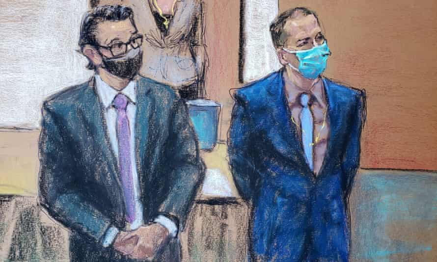Court drawing shows former Minneapolis police officer Derek Chauvin, right, and his defense attorney Eric Nelson rise to greet jury members on the 12th day of Chauvin's trial over the death of George Floyd.